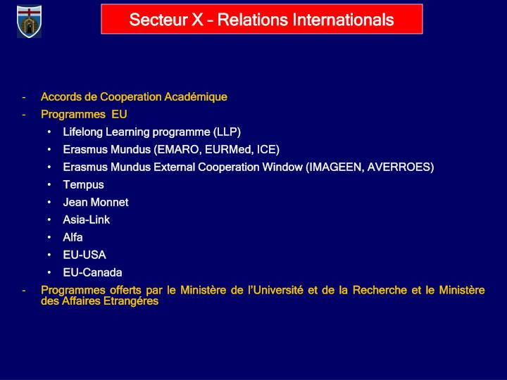 Secteur X – Relations Internationals