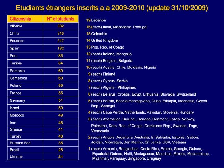 Etudiants trangers inscrits a.a 2009-2010 (update 31/10/2009)