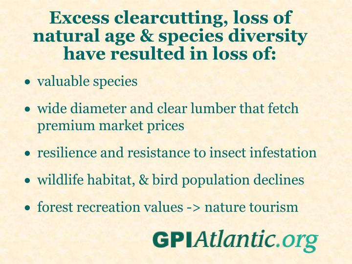 Excess clearcutting, loss of natural age & species diversity have resulted in loss of: