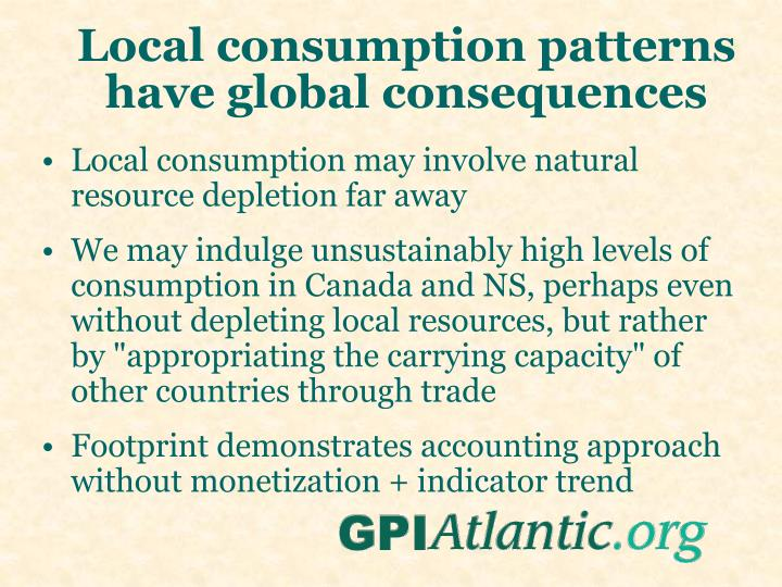 Local consumption patterns have global consequences