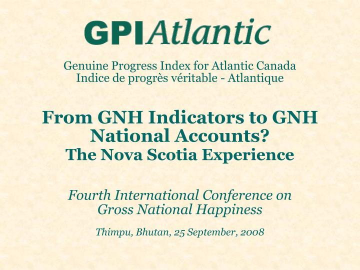 Genuine Progress Index for Atlantic Canada