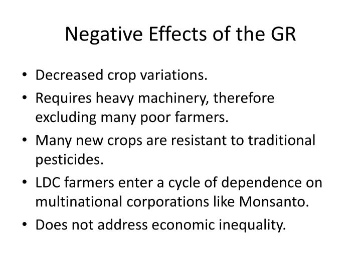 Negative Effects of the GR