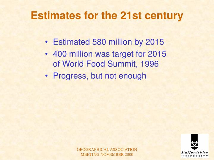 Estimates for the 21st century