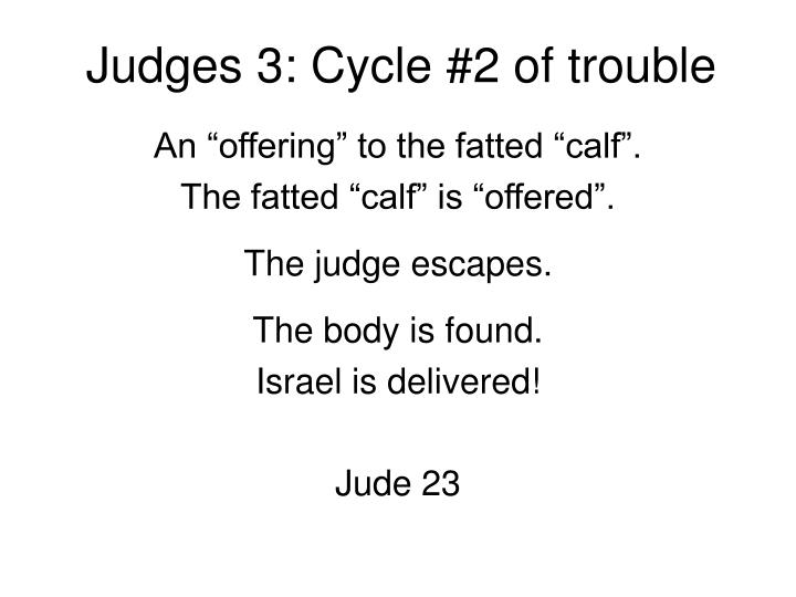 Judges 3: Cycle #2 of trouble