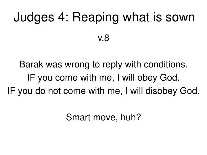 Judges 4: Reaping what is sown