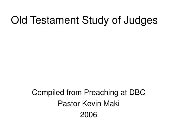 Old testament study of judges