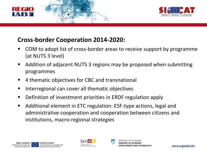 Cross-border Cooperation 2014-2020