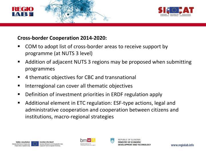 Cross-border Cooperation 2014-2020: