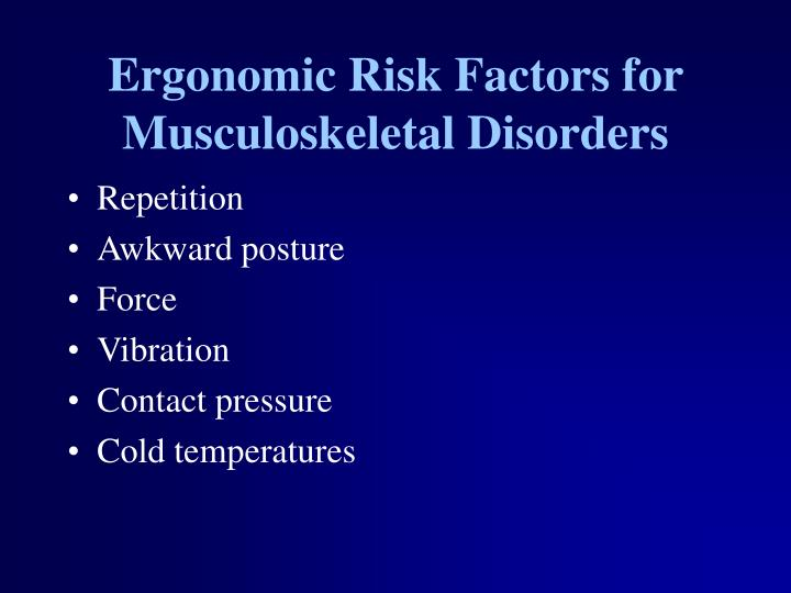 Ergonomic Risk Factors for Musculoskeletal Disorders
