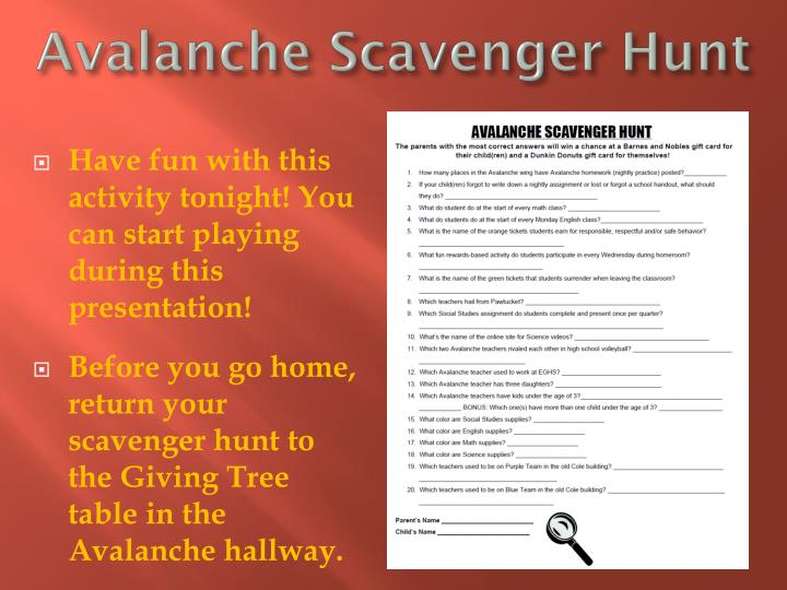 Avalanche Scavenger Hunt