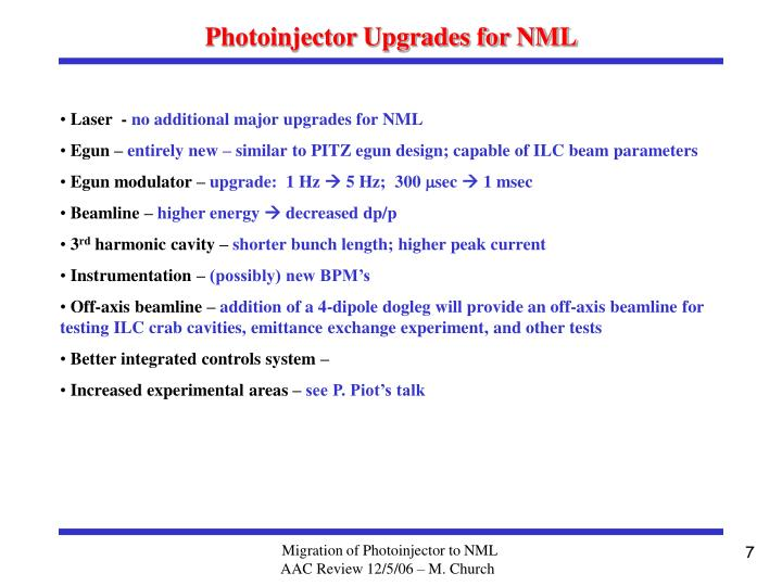 Photoinjector Upgrades for NML