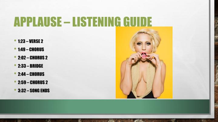 Applause – listening guide