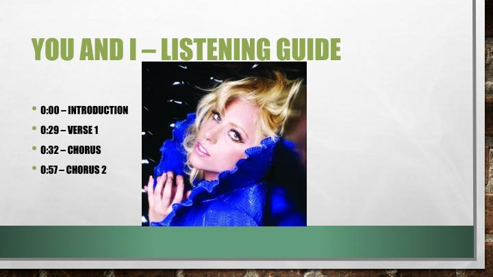 You and I – listening guide