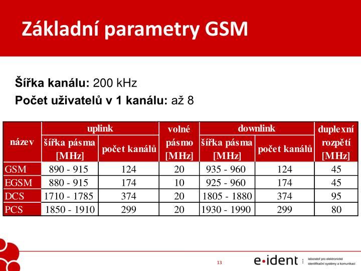 Základní parametry GSM