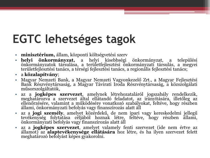 EGTC lehetséges tagok