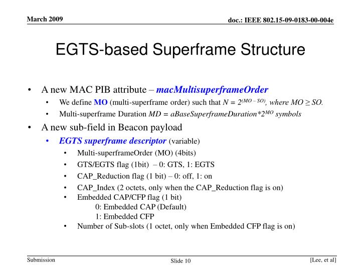 EGTS-based Superframe Structure