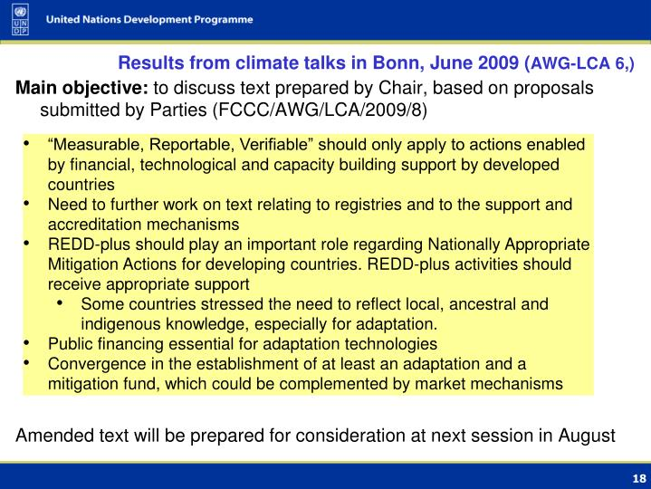 Results from climate talks in Bonn, June 2009 (