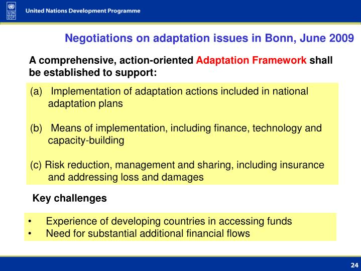 Negotiations on adaptation issues in Bonn, June 2009