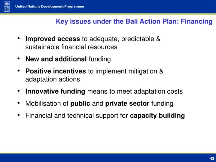 Key issues under the Bali Action Plan: Financing