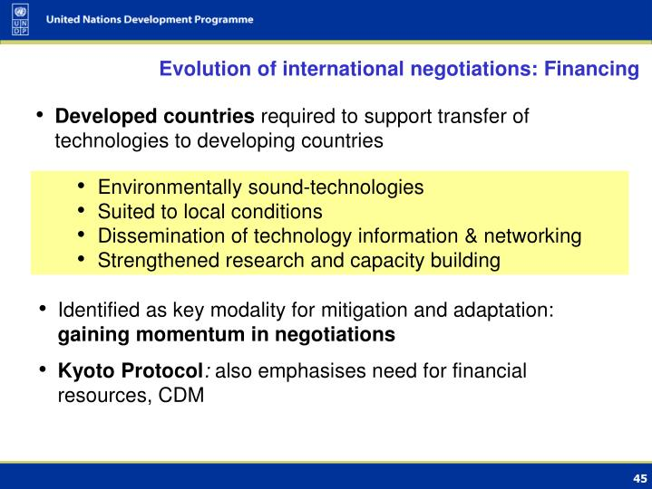 Evolution of international negotiations: Financing