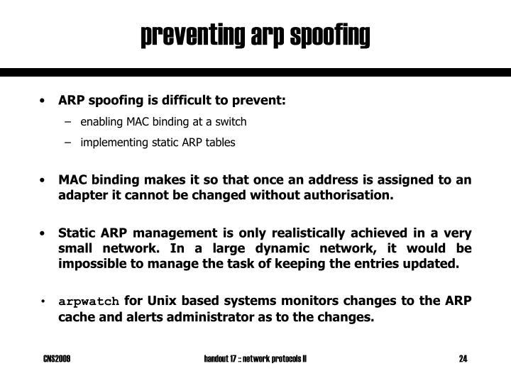 preventing arp spoofing