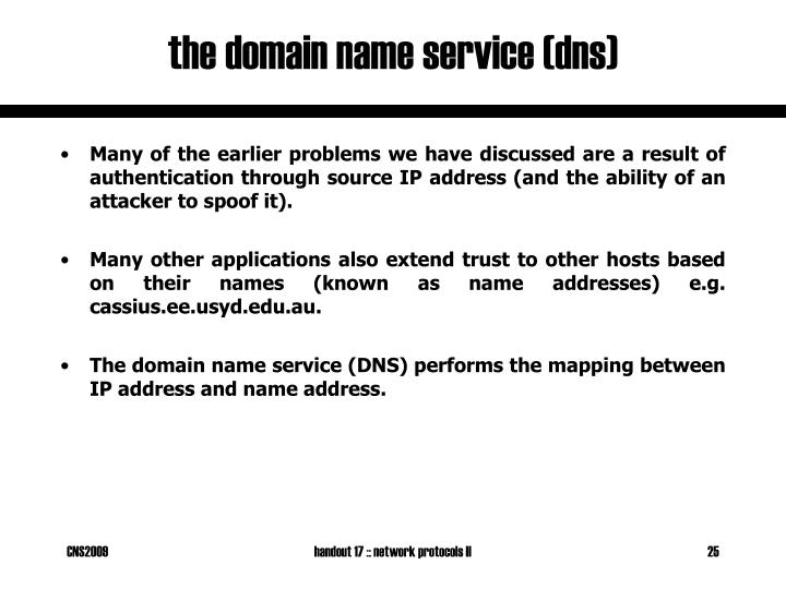 the domain name service (dns)