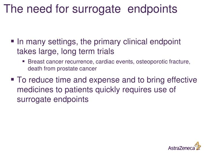 The need for surrogate  endpoints