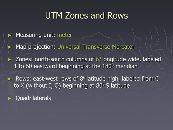 UTM Zones and Rows