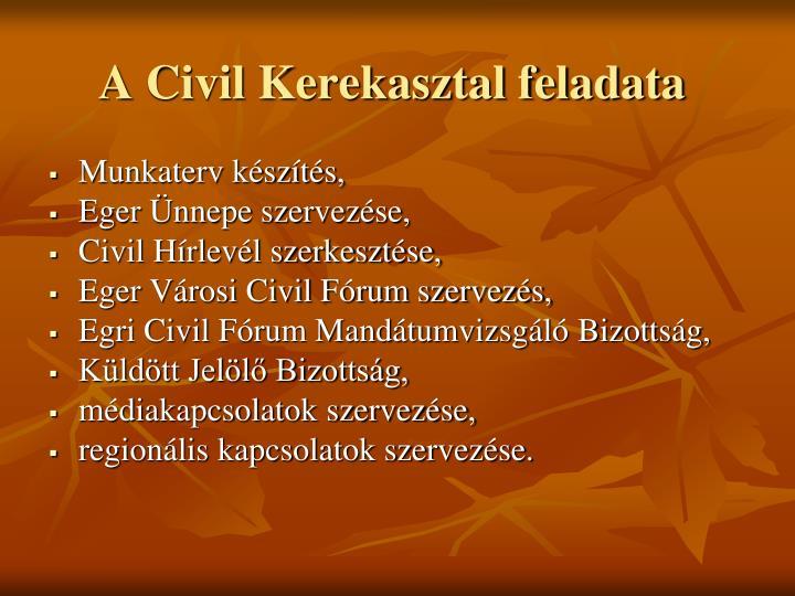 A Civil Kerekasztal feladata