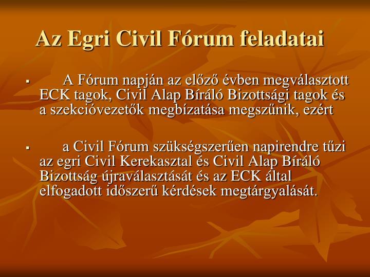 Az Egri Civil Fórum feladatai