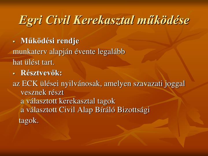 Egri Civil Kerekasztal működése