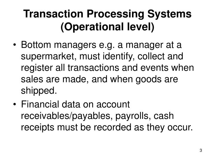 Transaction processing systems operational level1