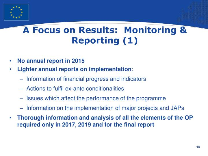 A Focus on Results:  Monitoring & Reporting