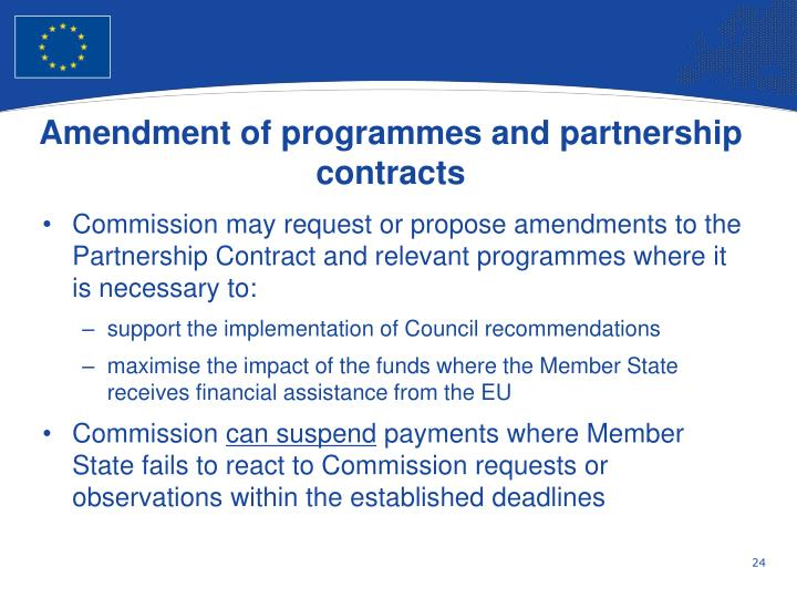 Amendment of programmes and partnership contracts