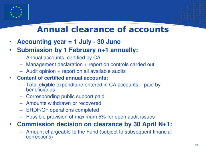 Annual clearance of accounts