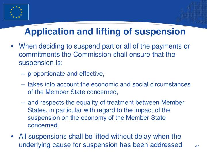 Application and lifting of suspension