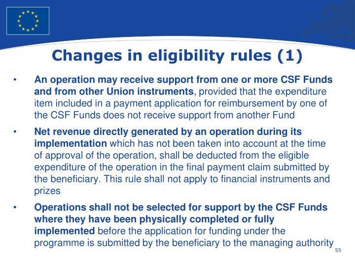 Changes in eligibility rules (1)