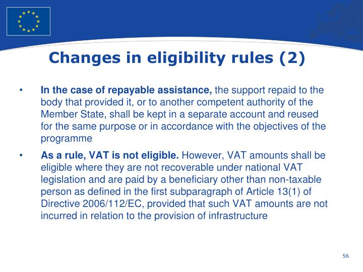 Changes in eligibility rules (2)