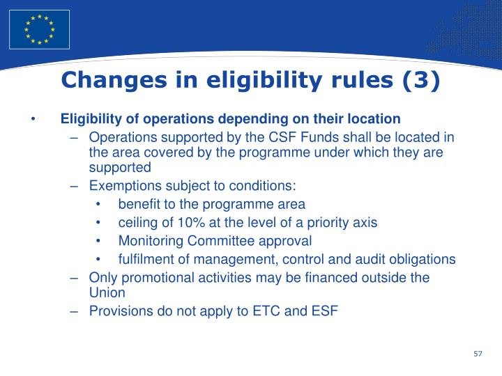 Changes in eligibility rules (3)