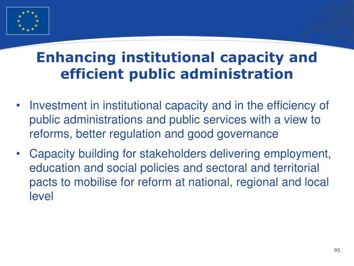 Enhancing institutional capacity and efficient public administration