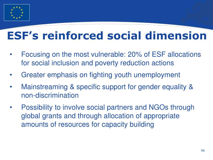 ESF's reinforced social dimension