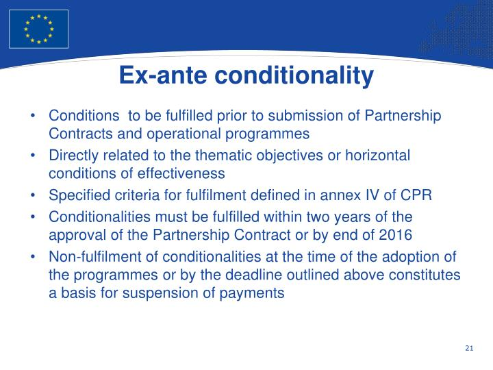 Ex-ante conditionality