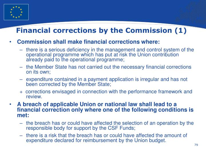 Financial corrections by the Commission (1)