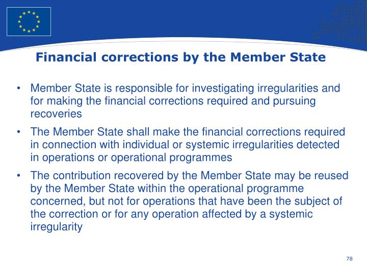 Financial corrections by the Member State