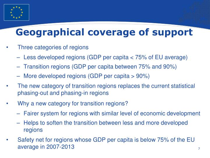 Geographical coverage of support