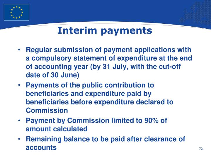 Interim payments