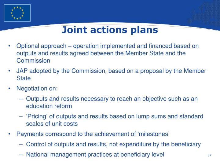 Joint actions plans