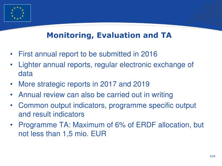 Monitoring, Evaluation and TA