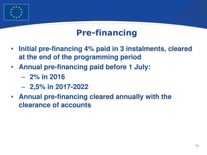 Pre-financing