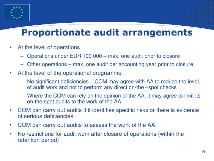 Proportionate audit arrangements